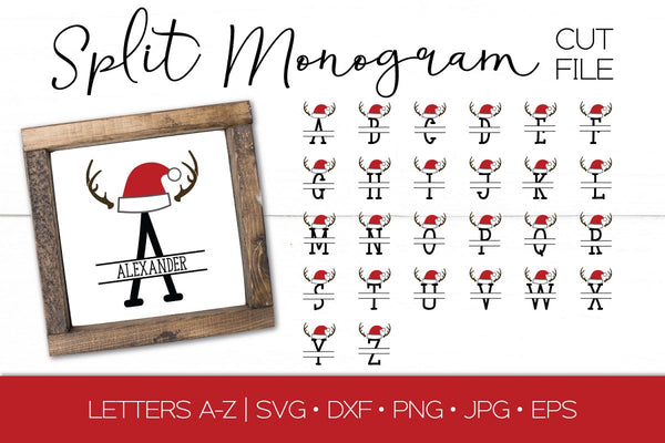 Santa Hat Split Monogram SVG DXF EPS Silhouette Cut File