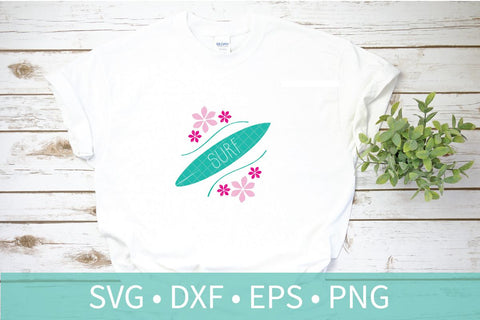 Surfboard Surf Flowers SVG DXF EPS Silhouette Cut File