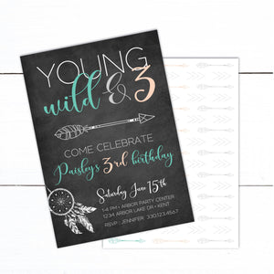 Young Wild and Three Birthday Invitation - Young Wild and 3 Invitation - Boho Arrow Invitation - Boy Girl Tribal Birthday Invitation - Automatic Download - DIY