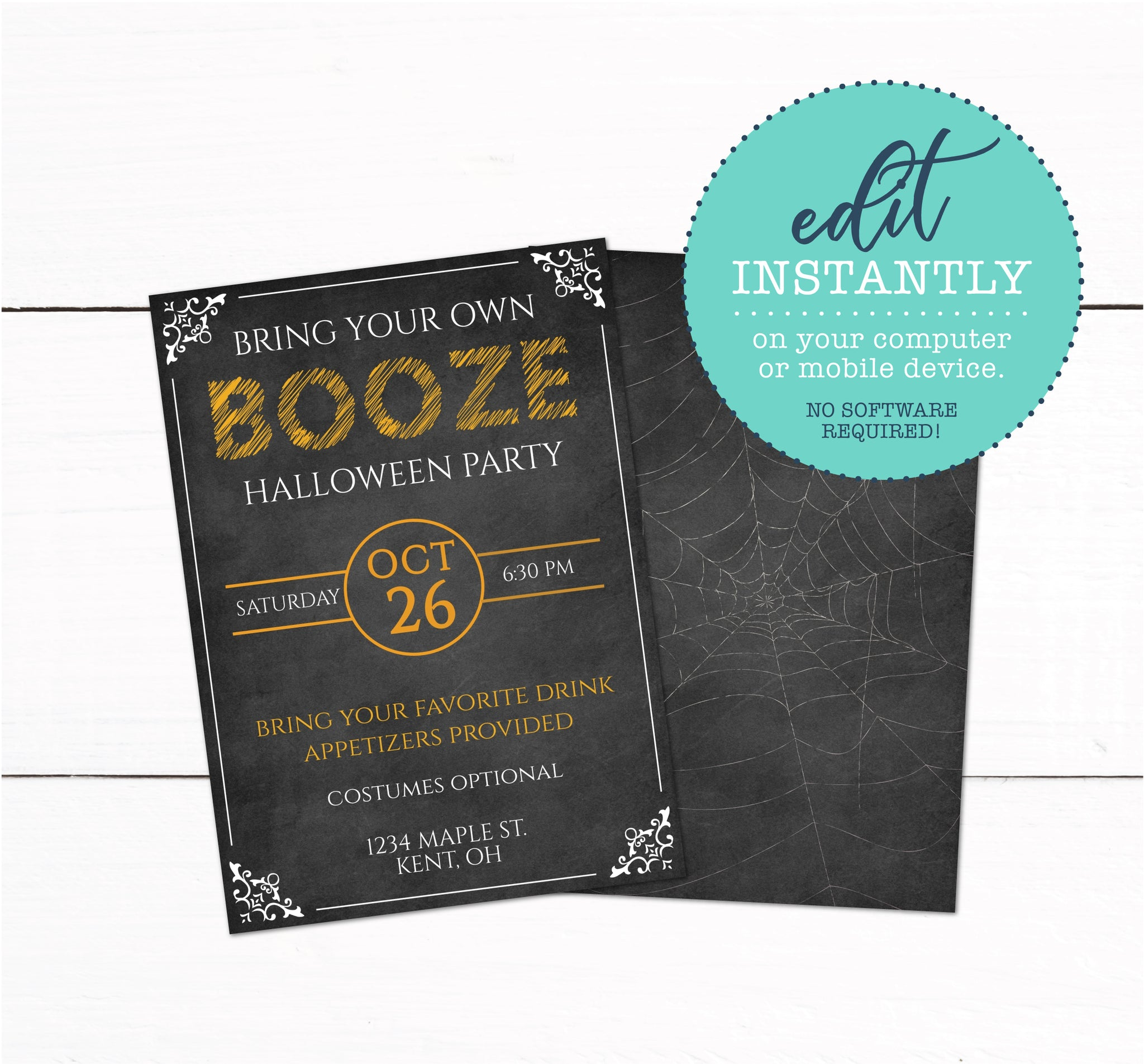 Adult Halloween Booze Party Invitation