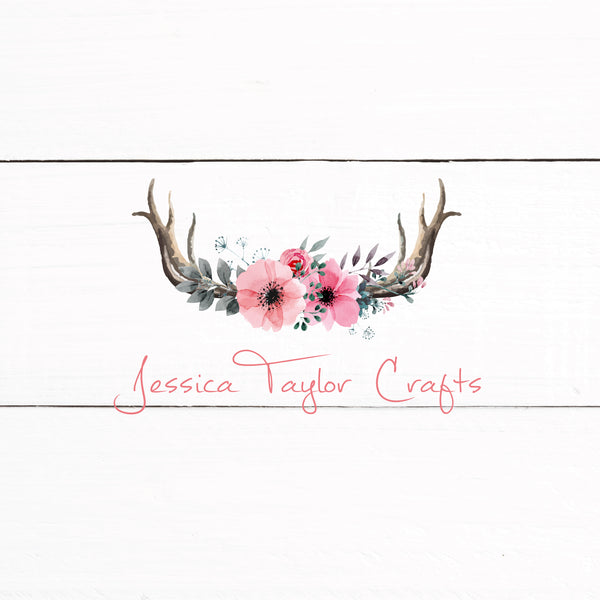 Floral Antler Rustic Shabby Chic Logo - Predesigned Logo Customized With Your Information