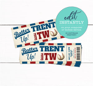 Baseball Birthday Party Ticket Invitations - Vintage Baseball Invitation - Printable Baseball Invitation - Boys Birthday Invitation
