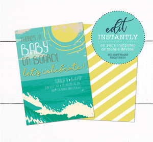 Beach Surf Theme Baby Shower Invitations - Beach Baby Sprinkle Invitation