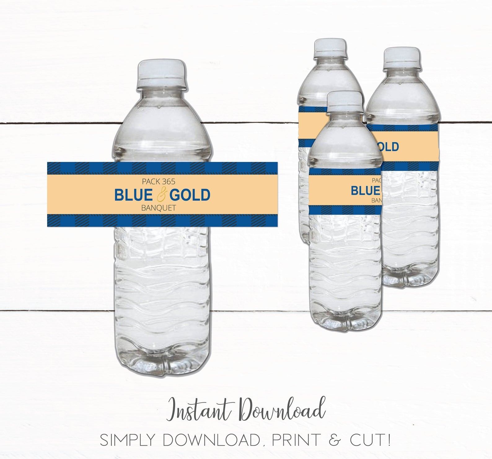 Cub Scout Blue and Gold Banquet Water Bottle Label
