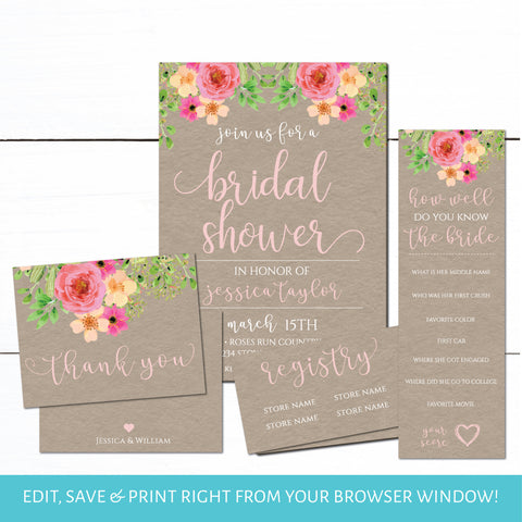 Floral Kraft Bridal Shower Invitation Set | Bridal Shower Invitation | Bridal Registry | Wedding Shower Invitation | Bridal Shower Game