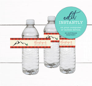 Buffalo Plaid Baby Shower Water Bottle Labels Decor
