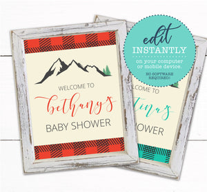 Buffalo Plaid Baby Shower Welcome Sign