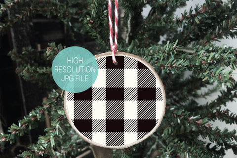 Buffalo Plaid Wood Slice Ornament Mockup