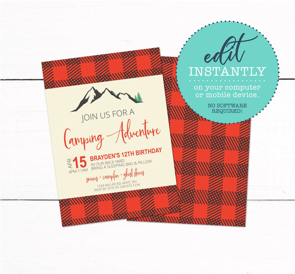 Plaid Camping Campout Invitation
