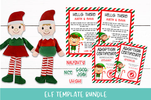 Christmas Elf Adoption Certificate Welcome Letter and Sticker Bundle