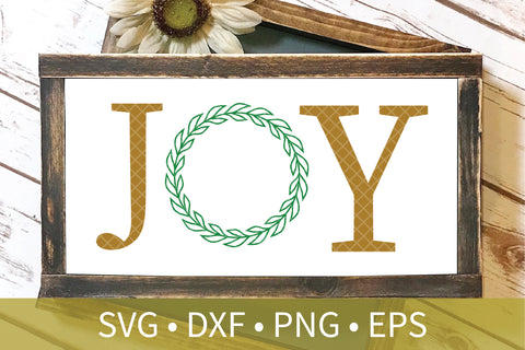 Joy Laurel Wreath Christmas Sign SVG PNG DXF Cut File