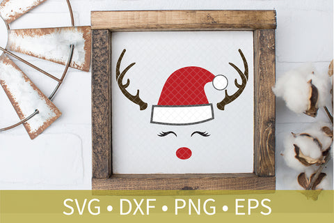 Santa Hat Reindeer Antlers Eyelash Sign SVG PNG DXF Cut File