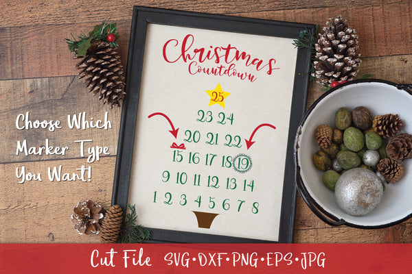 Christmas Countdown Advent Calendar SVG Cut File