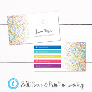 Rainbow Confetti Dot Dot Smile Business Card Template
