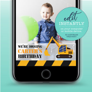 Construction Birthday Party Snapchat Geofilter - Construction Theme geo filter - Construction Party Decor - Boys Birthday - Kids Birthday