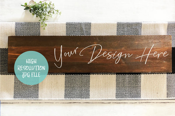 Dark Wood Espresso Horizontal Sign Mockup - Buffalo Plaid Christmas Sign Mockup