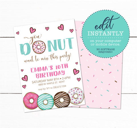 Girls Donut Theme Birthday Party Invitation