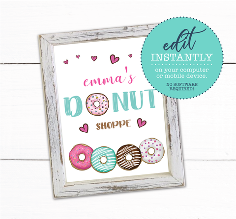 Girls Donut Theme Birthday Party Sign Decor