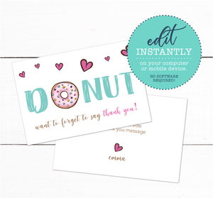 Girls Donut Theme Birthday Party Thank You Card