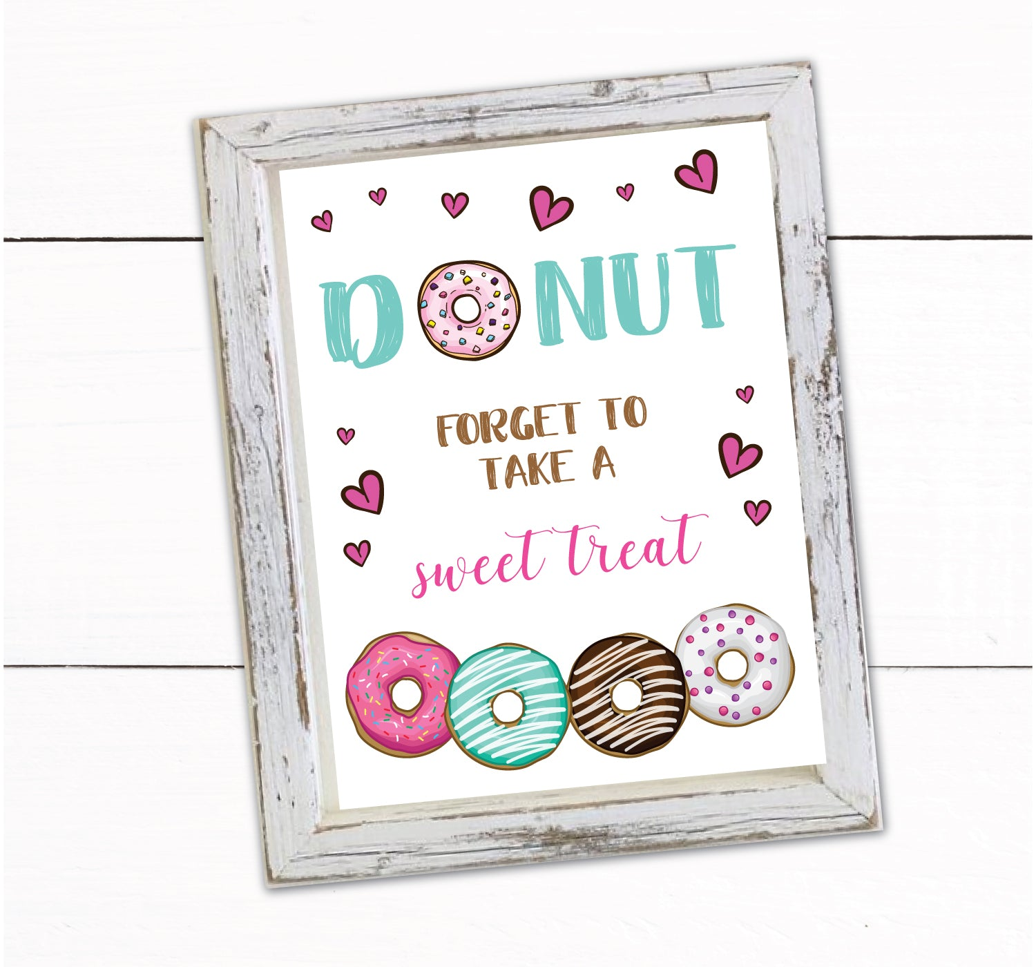 Girls Donut Theme Birthday Party Sweet Treats Sign Decor