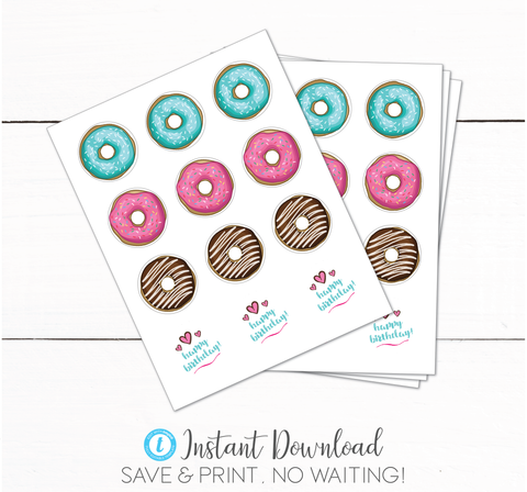 Girls Donut Birthday Party Treat Bag Toppers - Donut Stickers