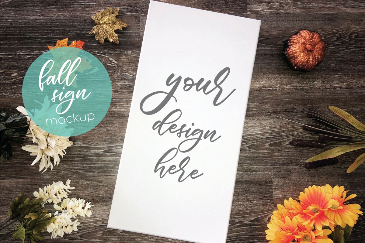 Tall Fall Canvas Wood Sign Mockup | Halloween Sign Mockup