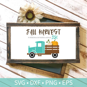 Vintage Truck Fall Harvest Pumpkins Hayrides 25 Cents svg dxf png eps Silhouette Cutting Craft File