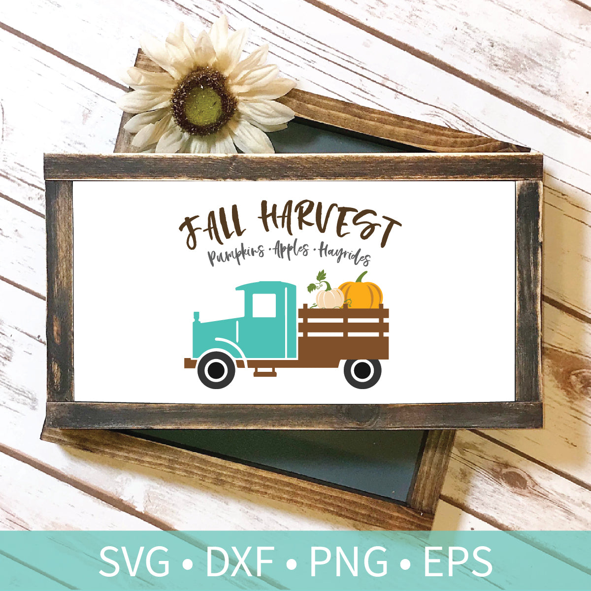 Vintage Truck Fall Harvest Pumpkins Hayrides svg dxf png eps Silhouette Cutting Craft File