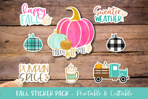 Fall Watercolor Sticker Bundle 7 Pack - Printable Cuttable PNG
