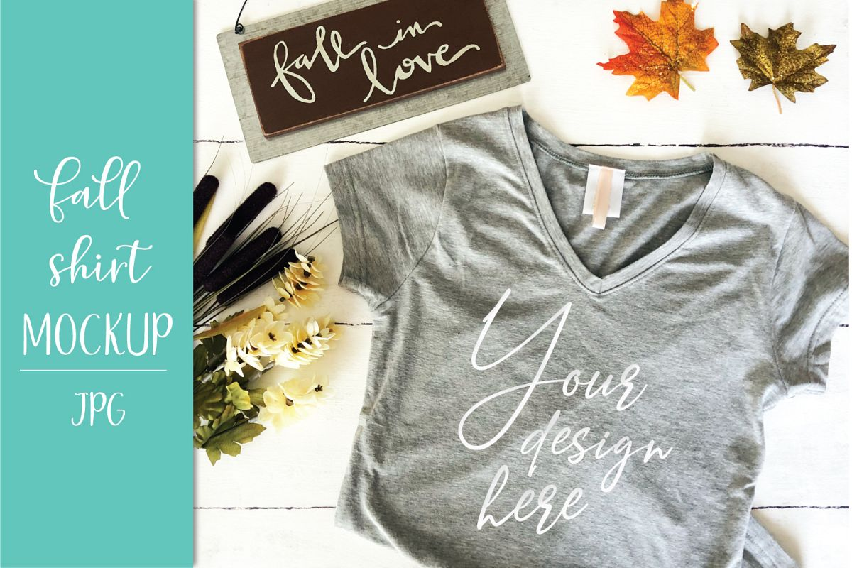 Fall Womens Vneck Shirt Mockup
