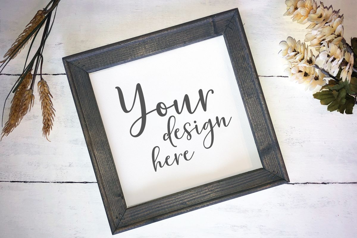 Farmhouse Gray Frame Wood Sign Mockup