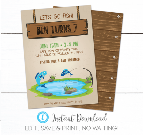 Kids Fishing Park Birthday Invitation