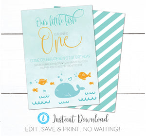 Fishing Swimming Kids First Birthday Invitation