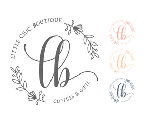 Floral Wreath Logo - Elegant Simple Floral Shop Boutique Pre made Logo