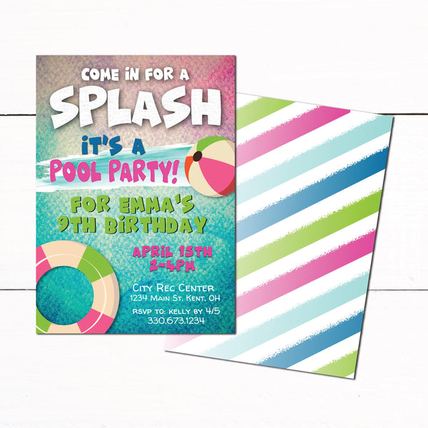 Girls Swim Party Birthday Invitation - Pool Swim Party Invitation - Mermaid Swim Party Invitation - Colorful Swim Theme Party - Swim Party Invite