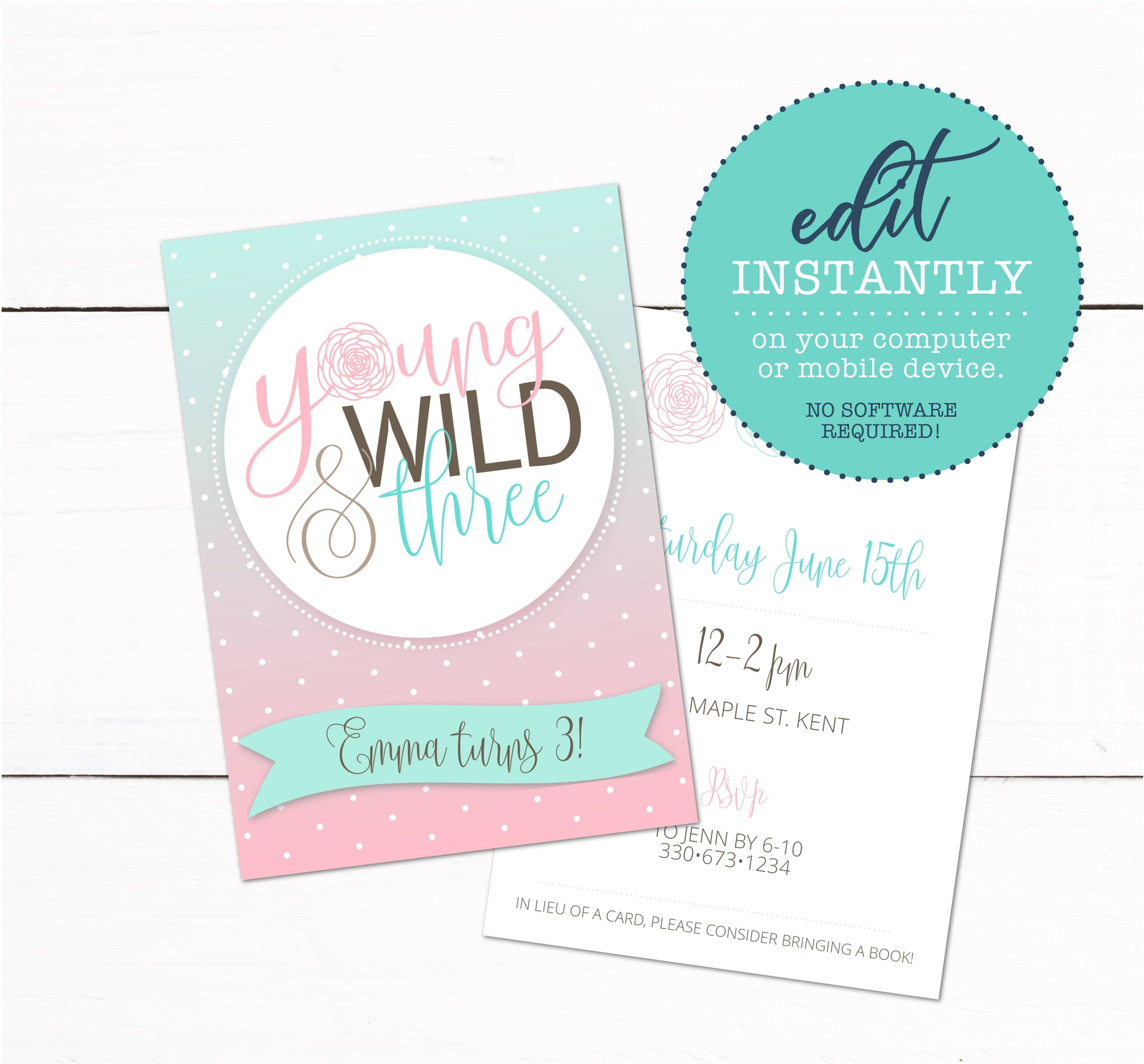 Young Wild and Three Girls 3rd Birthday Party Invitation
