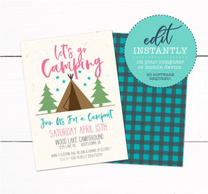 Girls Tent Camping Campout Sleepover Birthday Party Invitation