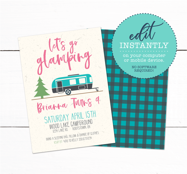 Girls Glamping Camping Campout Sleepover Birthday Party Invitation