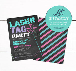 Girls Laser Tag Birthday Party Invitation