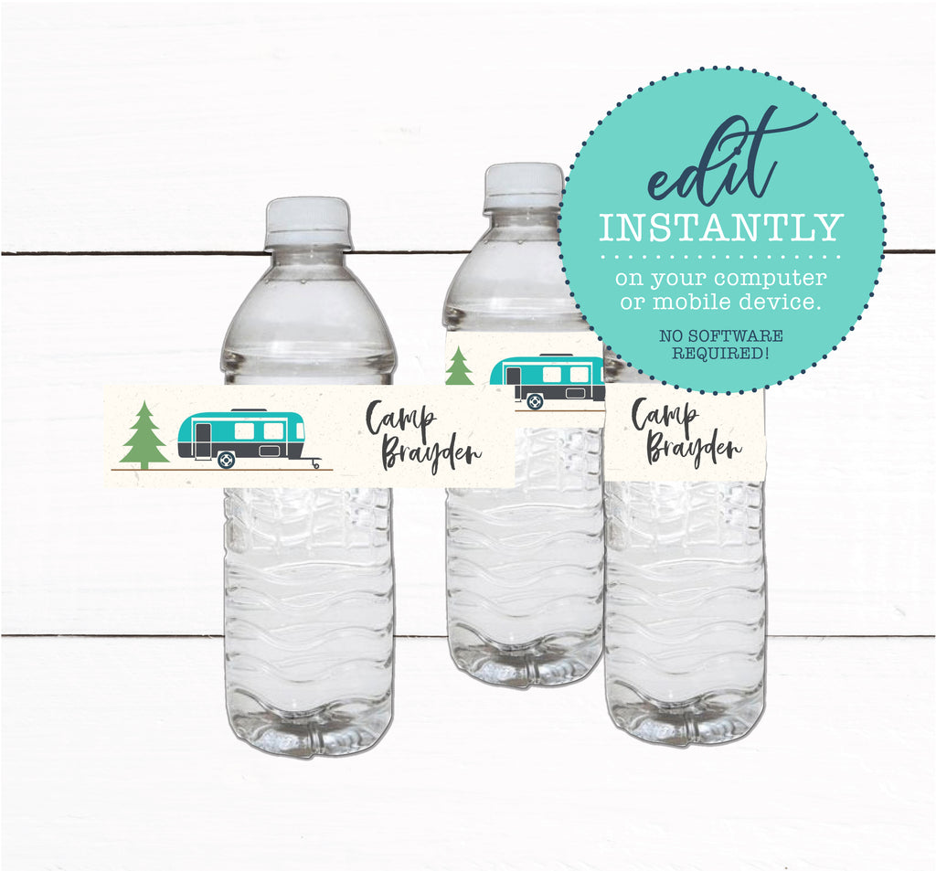 Glamping Campout Sleepover Birthday Party Water Bottle Label Favors Taylor George Designs