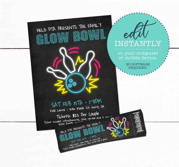 Glow Bowling Event Fundraiser Flyer & Ticket
