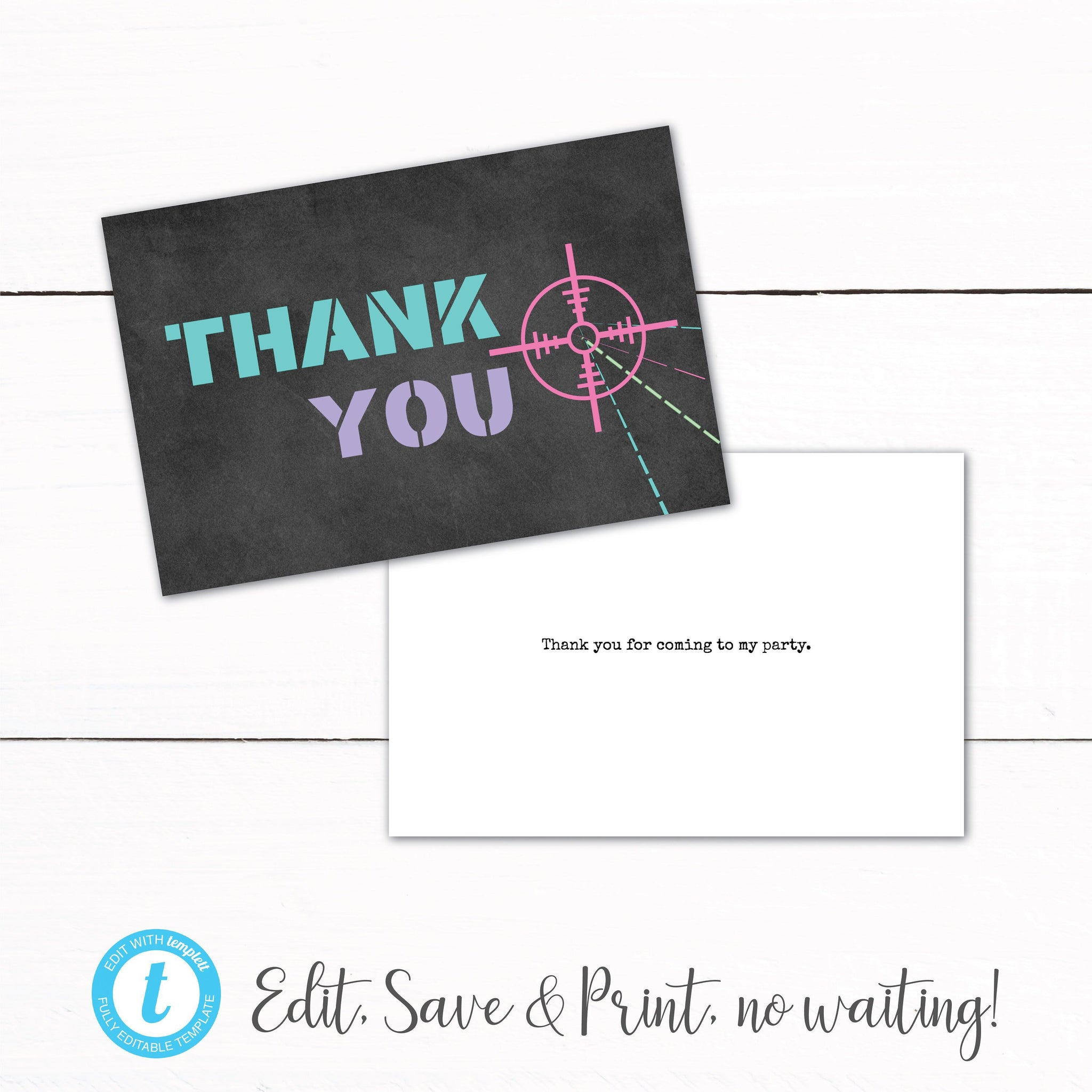 Girls Laser Tag Birthday Party Thank You Card