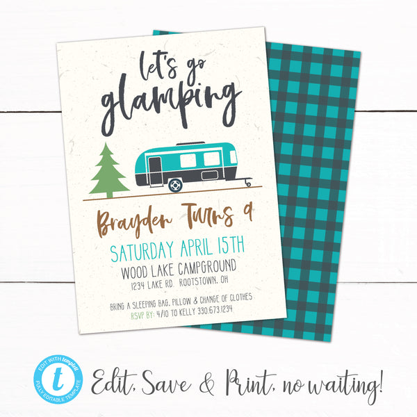 Glamping Camping Campout Sleepover Birthday Party Invitation