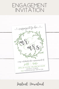 Engagement Party Invitation - Wreath Invitation - Bridal Shower Invitation