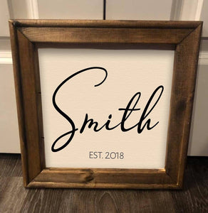 Family Name Sign Farmhouse Rustic Reverse Canvas Framed Sign