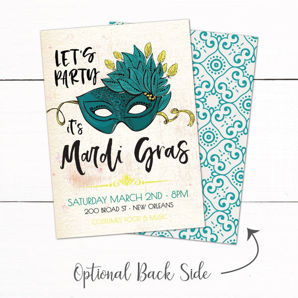 Mardi Gras Brazilian Carnival Birthday Party Invitation