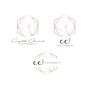 Hexagon Rose Gold Logo - Initials Logo - Simple Logo - Small Business logo - Personal Logo - Shop Logo - Photographer Logo - Logo Design
