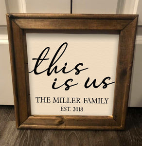 This Is Us Family Name Farmhouse Rustic Reverse Canvas Framed Sign