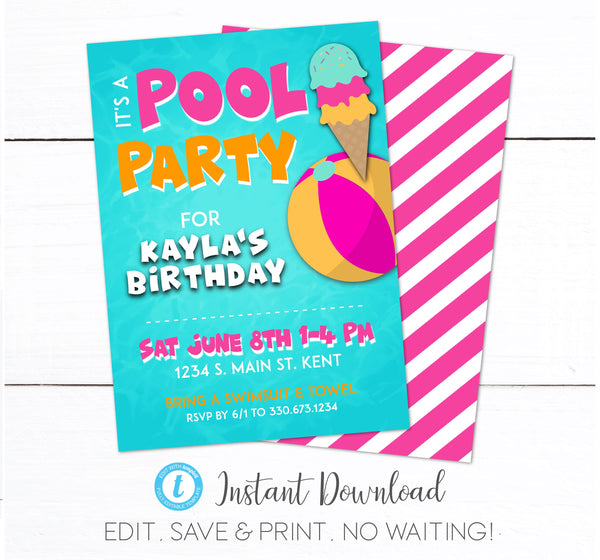 Girls Swimming Pool Birthday Party Invitation