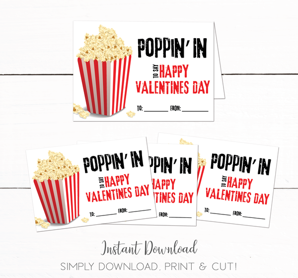 Kids Popcorn Printable School Party Valentines Day Cards